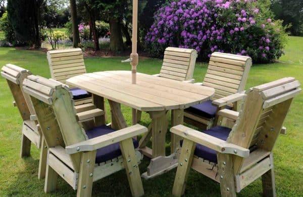 6 seater redwood garden table set
